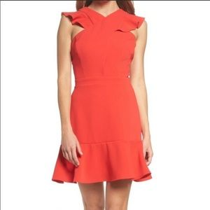 Chelsea28 Red Cross Front Ruffle Fit & Flare Dress